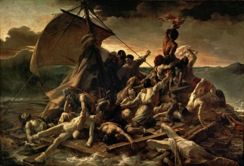The Raft of the Medusa by Théodore Géricault painted 1818-1819 and now hanging in the Louvre. The Méduse was wrecked off the coast of Africa in 1816. Of the 400 on board only 15 survived.