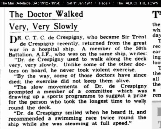 de Crespigny slow walk 1941