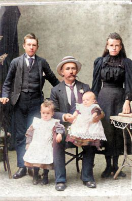 John Young, his two sons Cecil and Jack, and his two step-children Bob and Mary Ann Whiteman. Photo colourised using the MyHeritage photo tool