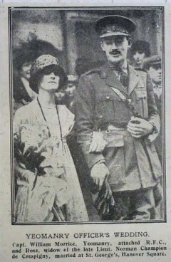 Rose Champion de Crespigny marries William Morrice. Newspaper clipping was being sold on EBay 2020, no other details available.