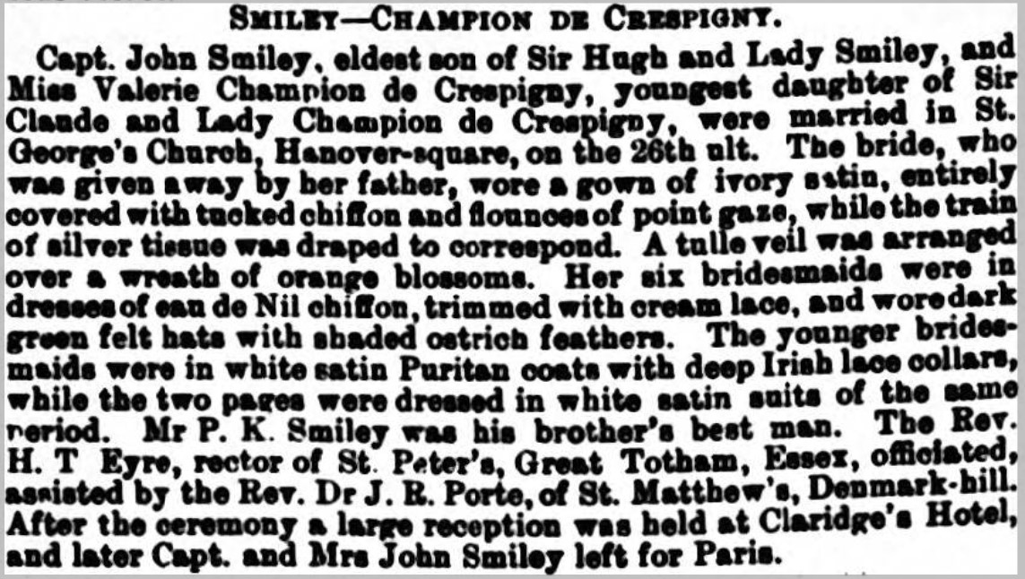 CdeC Smiley wedding The Queen 5 December 1903 page 58