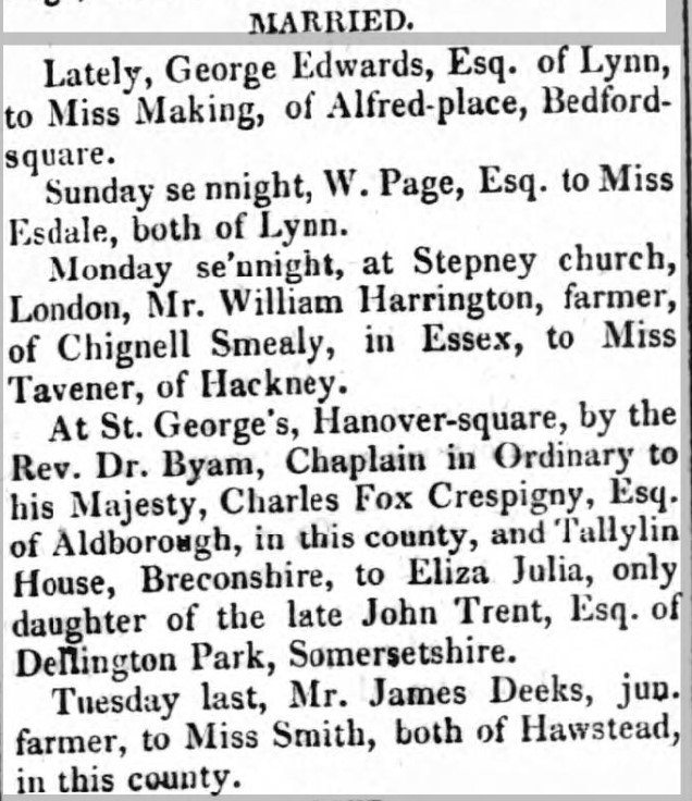 CdeC Trent 1813 marriage The Suffolk Chronicle; or Weekly General Advertiser & County Express. 8 May 1813 page 4