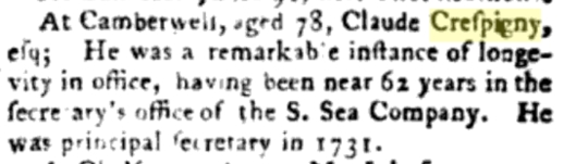 Crespigny Gentlemans Mag 1782 p 503
