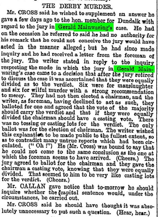 Mainwaring Gerald House of Commons Aug 11 The Times 1879 08 12 pg 6