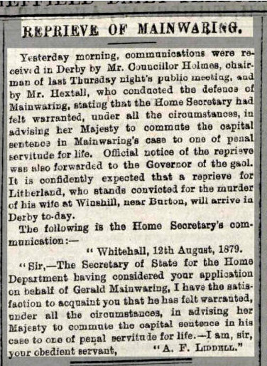 Mainwaring Gerald Sheffield Daily Telegraph 1879 08 14 pg 7