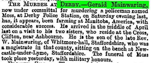Mainwaring Gerald The Times 1879 07 19 pg 11