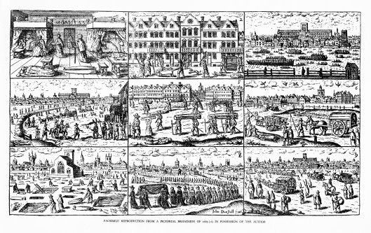 L0016640 Nine images of the plague in London, 17th century
