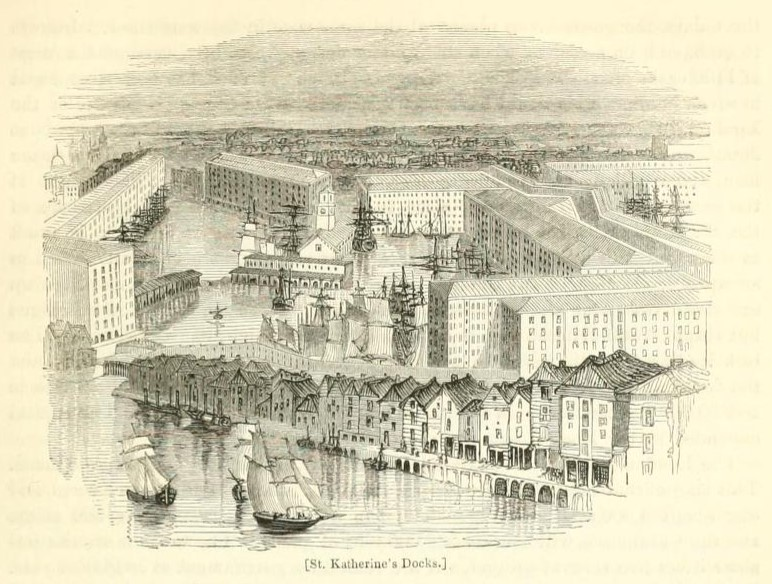 St Katherine's Docks from London vol 3 1842 Edited Charles Knight
