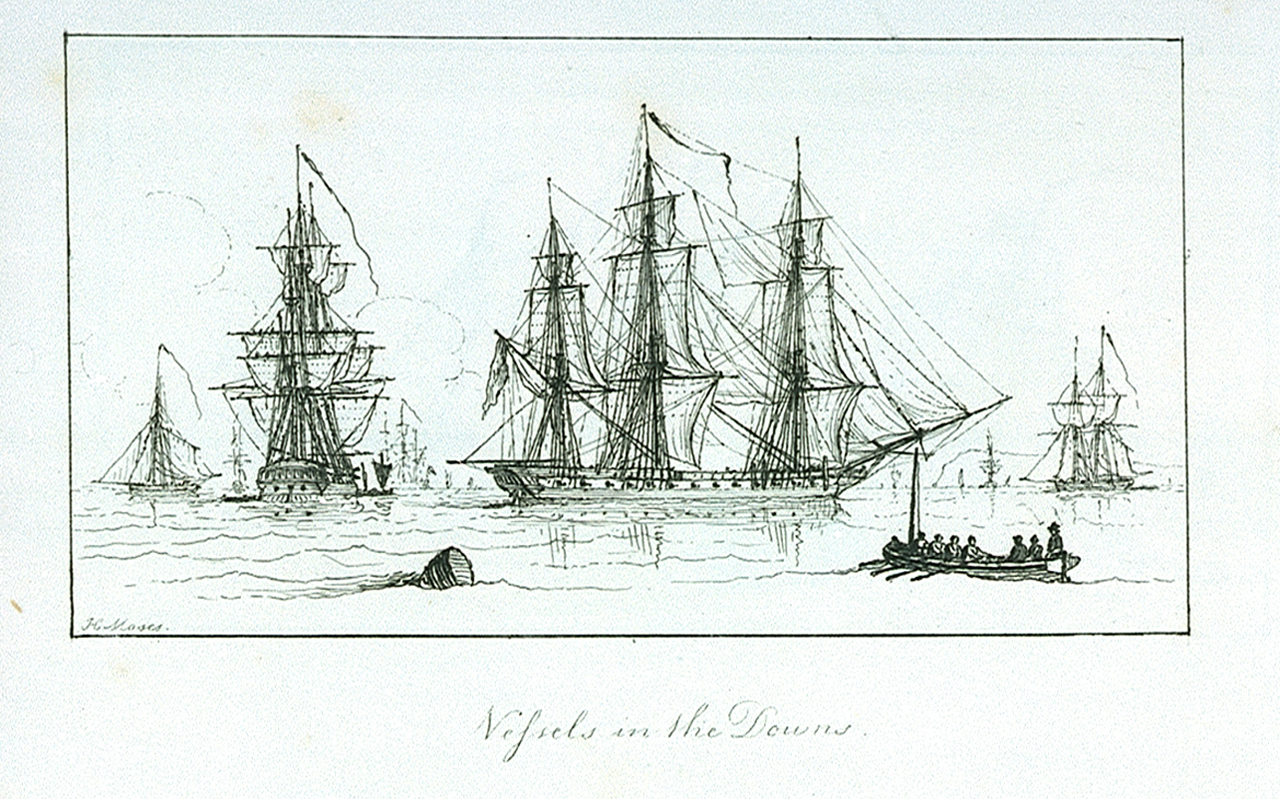 The_Marine_sketch_book_by_H._Moses_1826._Vessels_in_the_Downs_RMG_PU7931