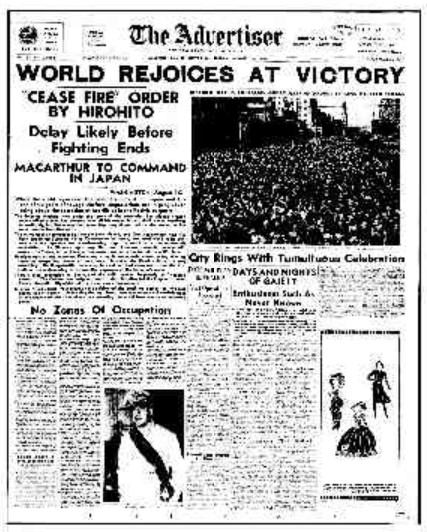 VJ day Adelaide Advertiser