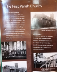 A brief history of the church was on display. The church burned down in 1916, the church we were looking at was not the one Greg's forebears knew.